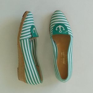 vintage green & white 1970s striped anchor wedges